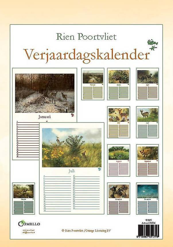 Rien Poortvliet A4 nature birthday calendar