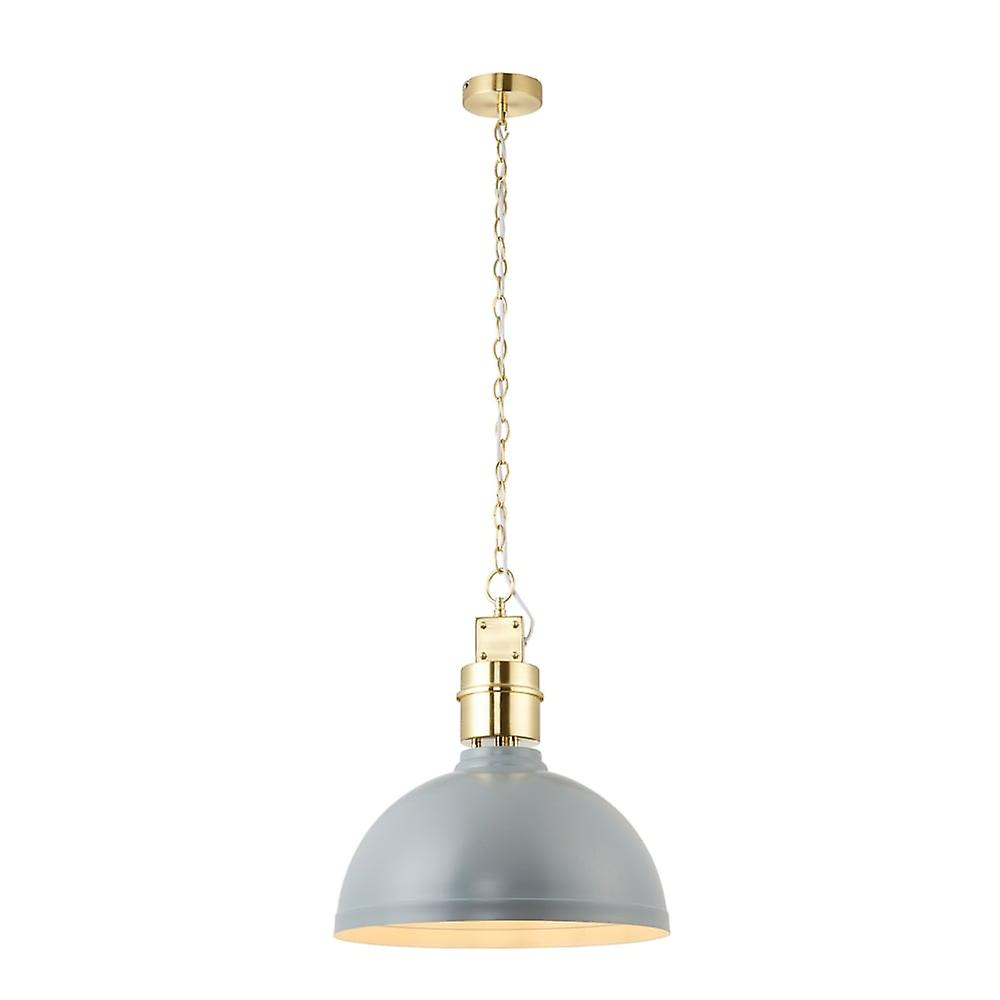 Endon Lighting Collingham Pendant Light In Satin Stormy Grey And Brushed Gold