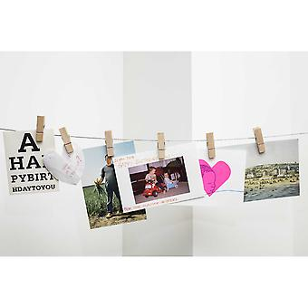 Wooden Clothes Peg & Cable Photo or Card Holder (6 Pegs)