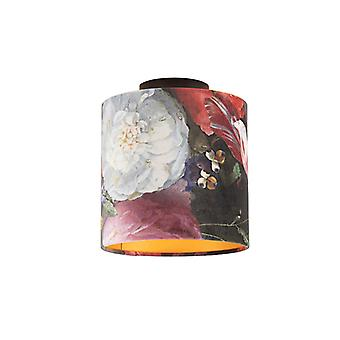 QAZQA Ceiling Lamp with 20cm Velvet Floral Shade - Combi Black