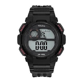 Tekday Watch 655974 - Silicone Black Box Bracelet Silicone Black Men