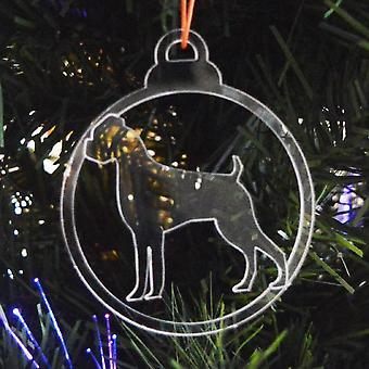 Hund TAND klar Acryl Weihnachten Dekorationen 6pk - Boxer
