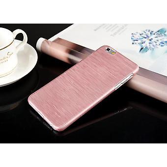 Coquille mobile brossée en aluminium Iphone plastique rose