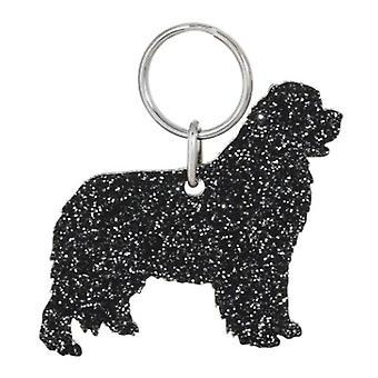 Black Newfoundland Style 1 Glitter Acrylic Keyring