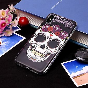 Voor iPhone XR Case Skull Pattern TPU Protective Back Cover, Grippy Texture