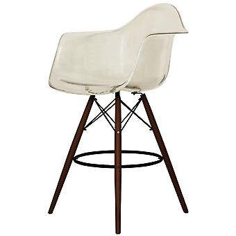 Charles Eames Style Clear Smoke Plastic Bar Stool With Arms - Walnut Legs