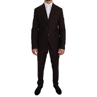 Dolce & Gabbana Bordeaux Lana Due Bottoni Slim Fit Abito