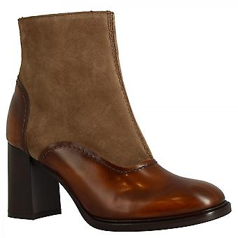 ليوناردو أحذية النساء & s أحذية الكاحل الكعب اليدوية في جلد جلد الغزال عجل الطين