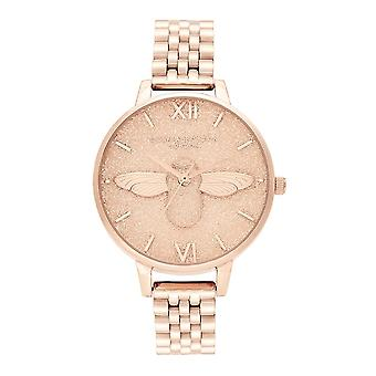 Olivia Burton Ob16gd46 Glitter Dial 3d Bee & Pale Rose Gold Stainless Steel Ladies Watch
