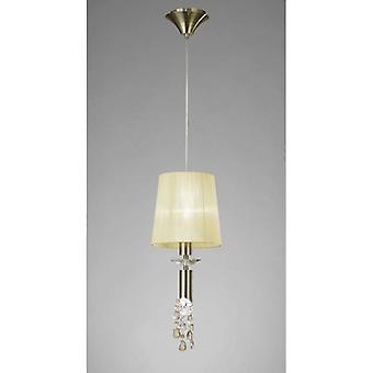 Tiffany Pendant 1+1 Light E27+g9, Antique Brass With Cream Shade & Clear Crystal