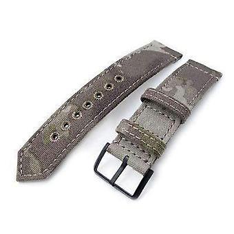 Strapcode fabric watch strap 20mm or 22mm miltat ww2 2-piece light grey camouflage nylon watch band with lockstitch round hole, pvd