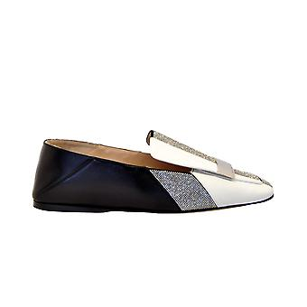 Sergio Rossi A77990strass Women-apos;s White/black Leather Loafers