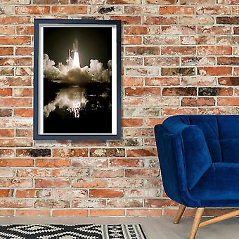 Hubble Telescope - Space Shuttle Discovery liftoff Poster Print Giclee