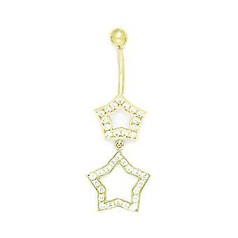 14k Yellow Gold CZ 14 Gauge Bungelende 2 Star Drop Body Sieraden Buik Ring Maatregelen 41x14mm Sieraden Geschenken voor vrouwen