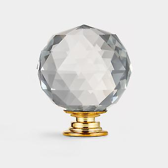 Crystal Door Knob - Clair / Or - Faceted - 50mm