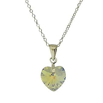 Jo For Girls Sterling Silver AB Heart Pendant Made With Swarovski Crystals