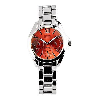 Eton Womens Boyfriend Style Fashion Watch, Coral Mock Chrono Dial - 3194L-CR