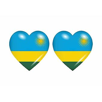 2x Stick naklejka serce flaga RWA rwanda