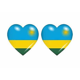 2x Stick sticker heart flag RWA rwanda