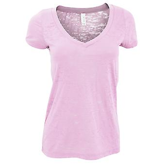 בלה + בד שחיקה נשים-חולצת טריקו שרוול V-צוואר קצר