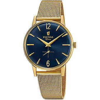 Extra Quartz Analog Man Watch Festin with F20253/2 Gold Plated Stainless Steel Bracelet