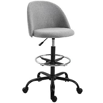 Vinsetto 97cm Draughtsman Chair Tall Home Office Seat Ergonomic w/ 5 Wheels Padded Seat High Back Adjustable Frame Metal Footrest Ring Work 360° Swivel Comfortable Grey