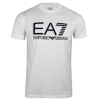 Ea7 emporio armani men's white logo crew neck t-shirt