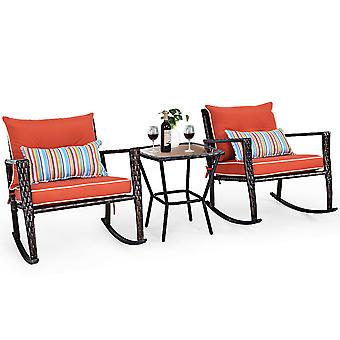 3 PCS Rattan Garden Furniture Bistro Set Rocking Chairs Dinning Coffee Table Red