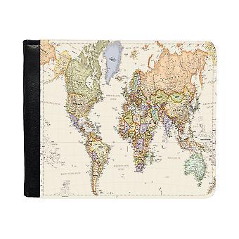 Världskarta Plånbok Med Myntbörs