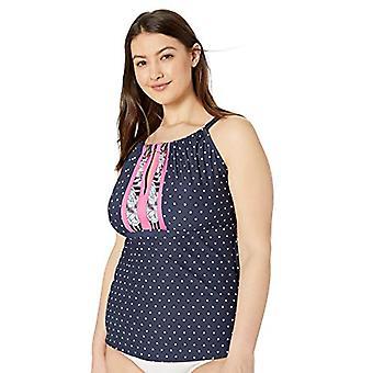 BEACH HOUSE FEMEIE Femeiăs Plus Size High Neck Tankini Top Swimsuit cu Splic...