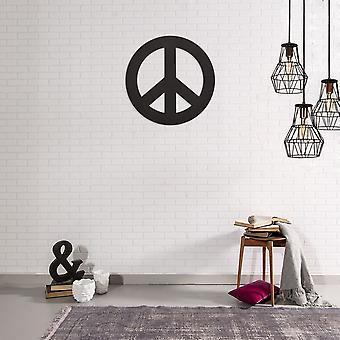 Decoração da Parede Paz Cor Preta em Aço Laminado Frio, L50xP0,15xA50 cm