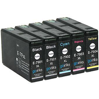 1 készlet 4 + extra fekete tintapatronok helyett Epson T7906+7901 (79XL sorozat) Kompatibilis / nem OEM a Go Festékek (5 festékek)