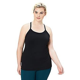 Brand - Core 10 Women's Plus Size Yoga Fitted Support Tank, black, 3X