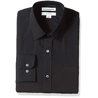 "Essentials Men's Slim-Fit Wrinkle-Resistant Long-Sleeve Dress Shirt, Noir, 16.5"" Neck 32""-33"""