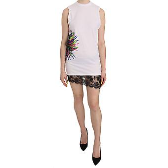 White Printed Crew Neck Sleeveless Bodycon Mini Dress -- TSH3998256