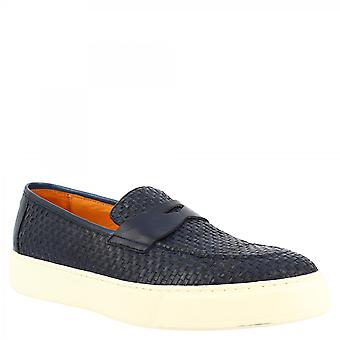 Leonardo Shoes Men's faits à la main slip-on chaussures baskets en cuir de veau tissé bleu