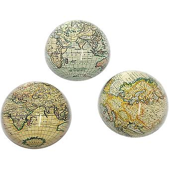 Glass Dome Map Theme Paper Weight - Mixed Designs