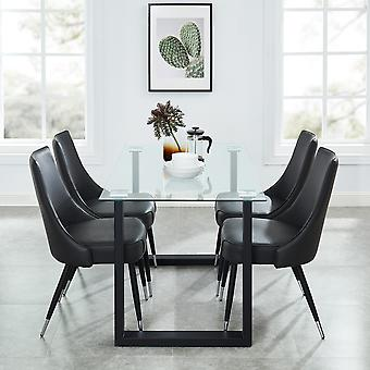 Dahlia/Liam 5Pc Dining Set - Black Table/Vintage Brown Chair
