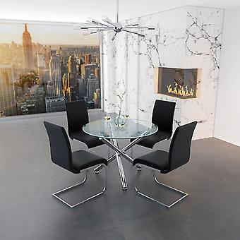 Lincoln Ii/Gracie 5Pc Dining Set - Chrome Table/Black Chair