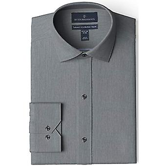 BUTTONED DOWN Men's Tailored Fit Spread-Collar Solid Non-Iron Dress Shirt, Ch...