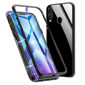 Metal and Glass Protection for Huawei Honor 8X Hard Aluminum Protective Glass Book Black