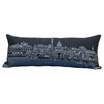 Spura Home Washington D.C. Printed Skyline Embroidered Wool  Day/Night Cushion