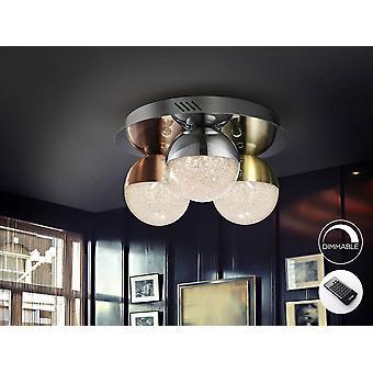Integreret LED-dæmpet planloftlys med fjernbetjeningskrom, messing, kobber
