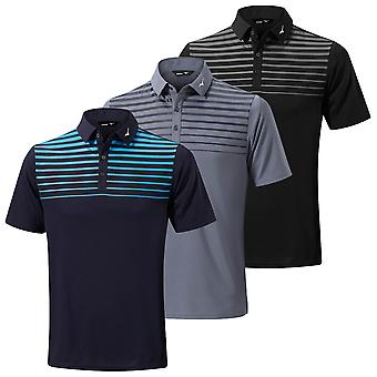 Mizuno Mens 2020 Breath Thermo Pattern Short Sleeve Stripe Golf Polo Shirt