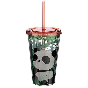 Panda Design Glitter Double Walled Cup with Lid and Straw