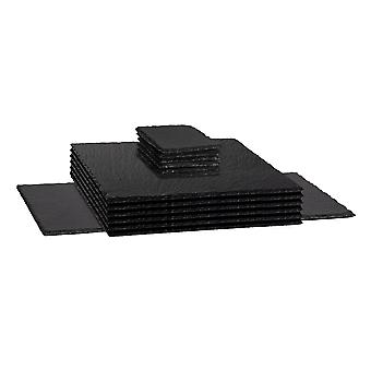 13 Piece Slate Placemats Coasters en Table Runner Set - Boerderij Stijl Hand Cut Leisteen Rand