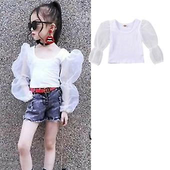 Baby Clothes, Long Lace Puff Sleeve, Top Blouse