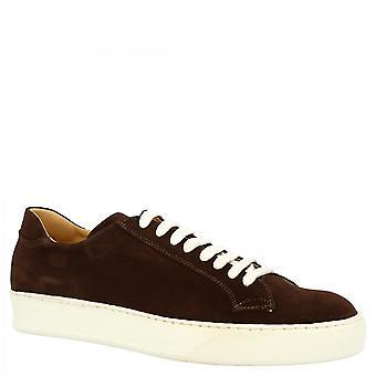 Leonardo Shoes Men's käsintehty rento pyöreät lenkkarit kengät tummanruskea mokkanahka