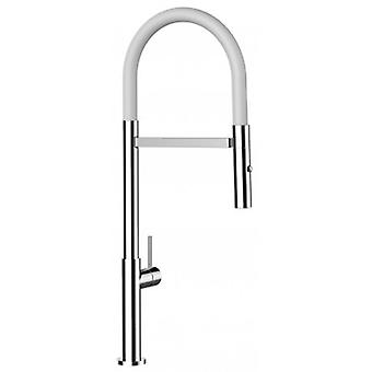 Single-lever Kitchen Sink Mixer White Spout And 2 Jets Shower - 176