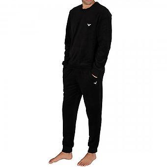Emporio أرماني الملابس الداخلية الأسود طاقم الرقبة فيلور Tracksuit 111908 0A589